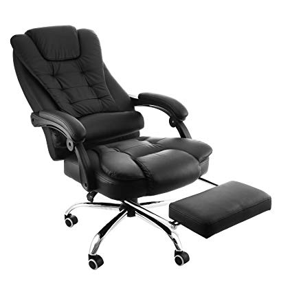 Happybuy Executive Swivel Office Chair with Footrest PU Leather Ergonomic  Office Reclining Chair Adjustable High Back