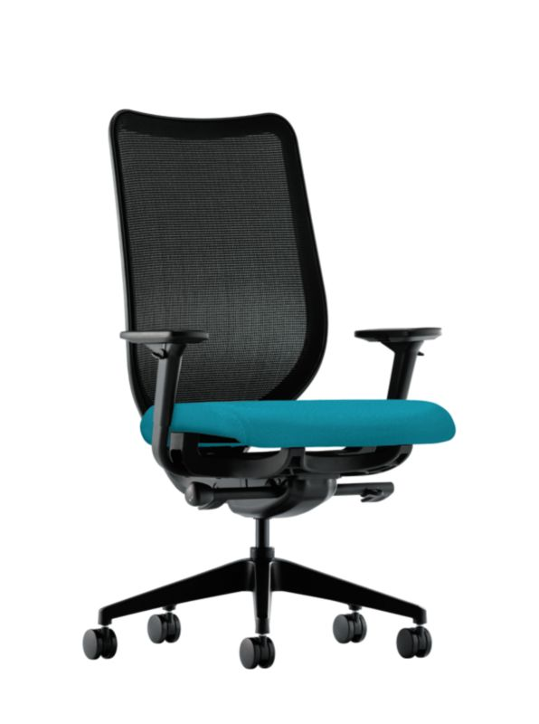 HON Nucleus Task Chair Blue Adjustable Arms Mesh Back Front Side View  HN1.A.H.IM