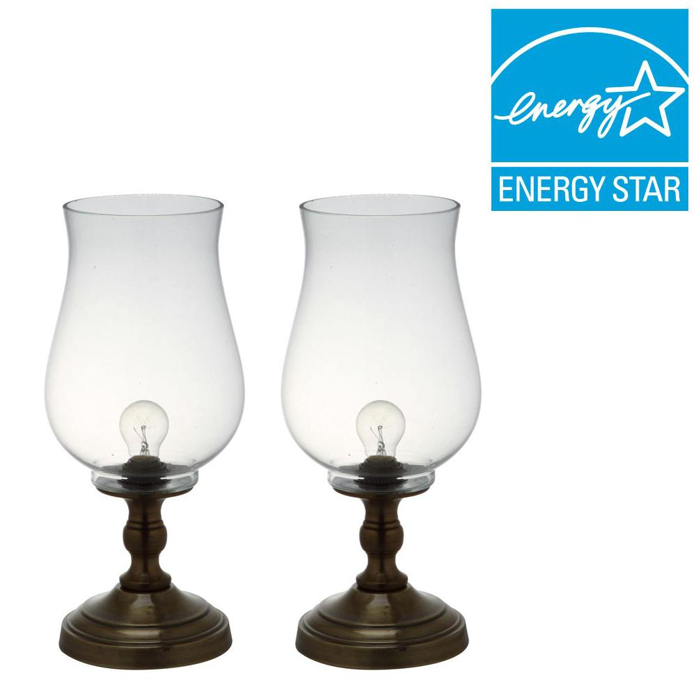 Bronze Uplight Hurricane Lamp with Clear Shade (Set of 2)