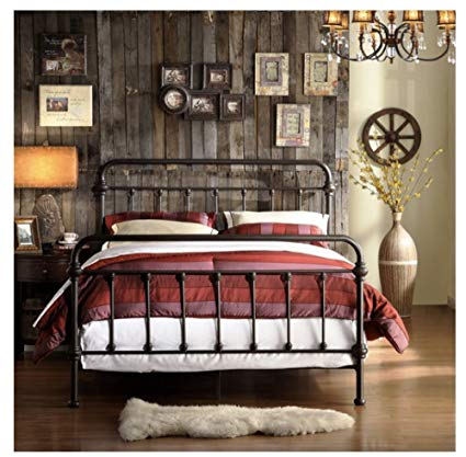 Wrought Iron Bed Frame Dark Bronze Metal Queen Size Free Shipping USA  Vintage Look Shabby Chic