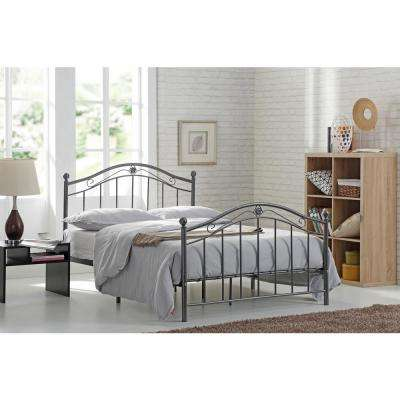 Black and Silver Queen Size Metal Panel Bed with Headboard and Footboard