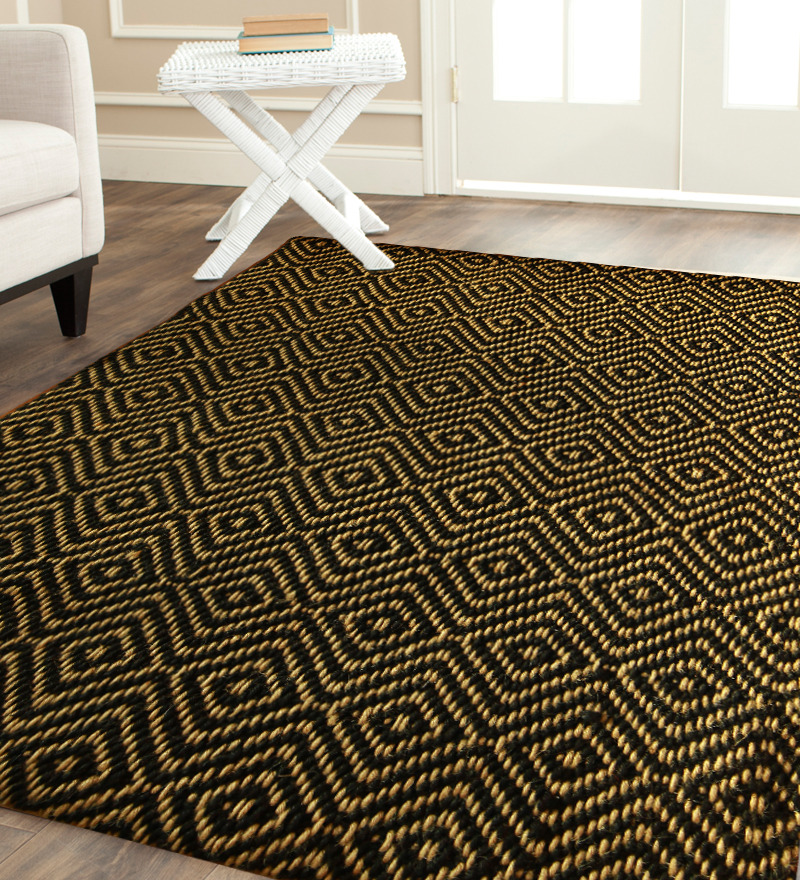 smart patterned black jute rug design with yellow pattern on washed white  flooring with white furniture