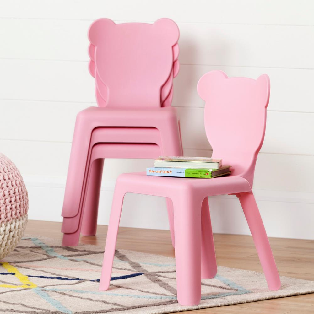 Crea Pink Plastic Stacking Kids Chair (Set of 4)