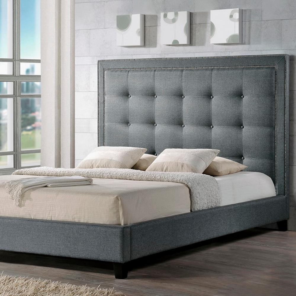 Baxton Studio Hirst Transitional Gray Fabric Upholstered King Size Bed