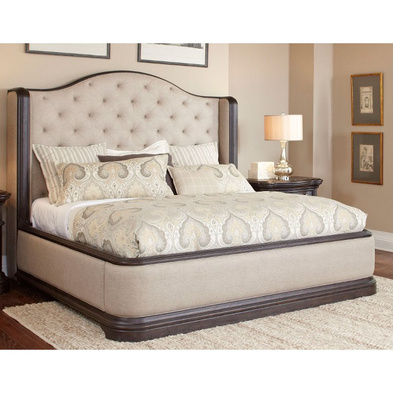 Dark Oak Wingback Upholstered Queen Bed - Ravena | RC Willey Furniture Store