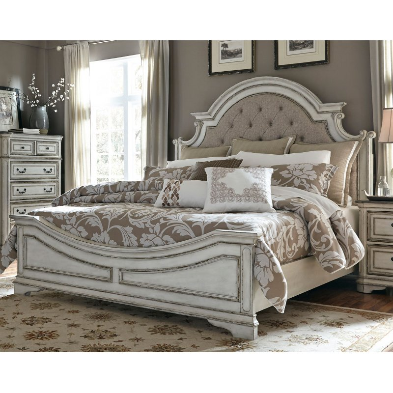 Antique White Traditional Upholstered King Size Bed - Magnolia Manor | RC  Willey Furniture Store