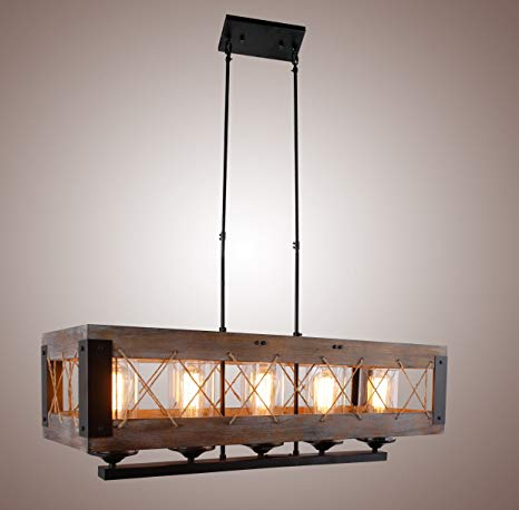 Wood Rectangular Pendant Lighting Chandelier Kitchen Island Lighting