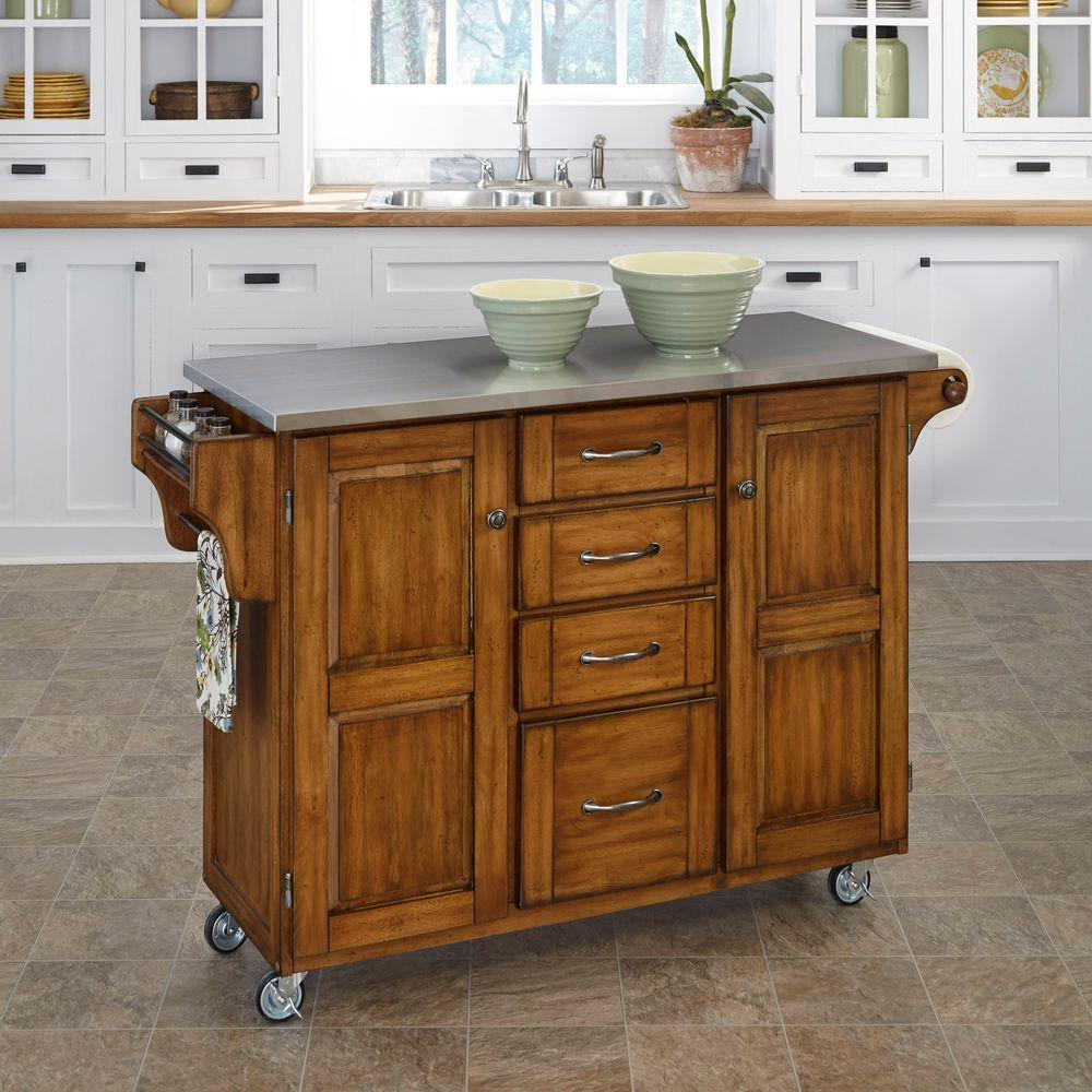 Home Styles Create-a-Cart Warm Oak Kitchen Cart With Stainless Top