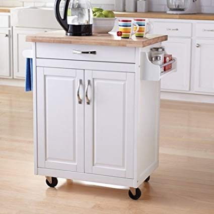 Kitchen Cart Rolling Island Storage Unit Cabinet Utility Portable Home  Microwave Wheels Butcher Wood Top Drawer