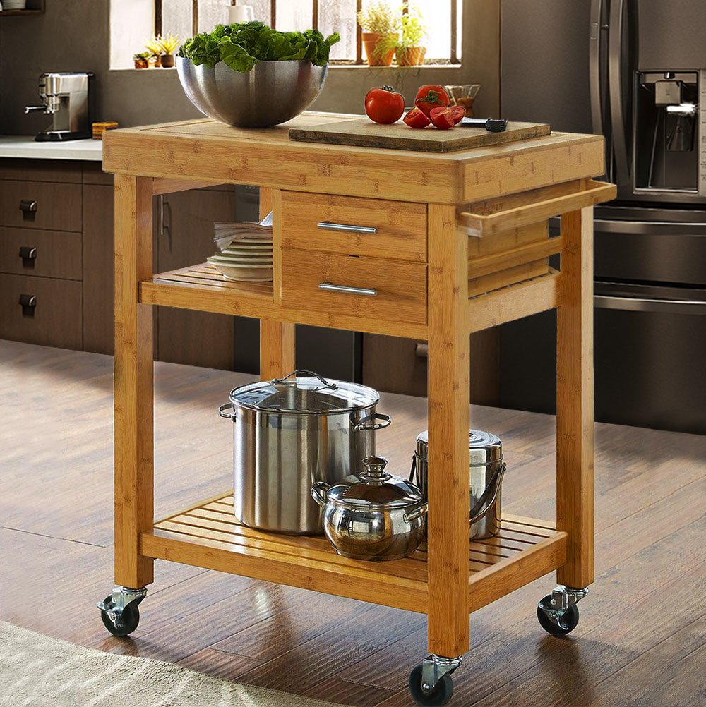 Rolling Bamboo Wood Kitchen Island Cart Trolley, w/ Towel Rack Drawer  Shelves 0