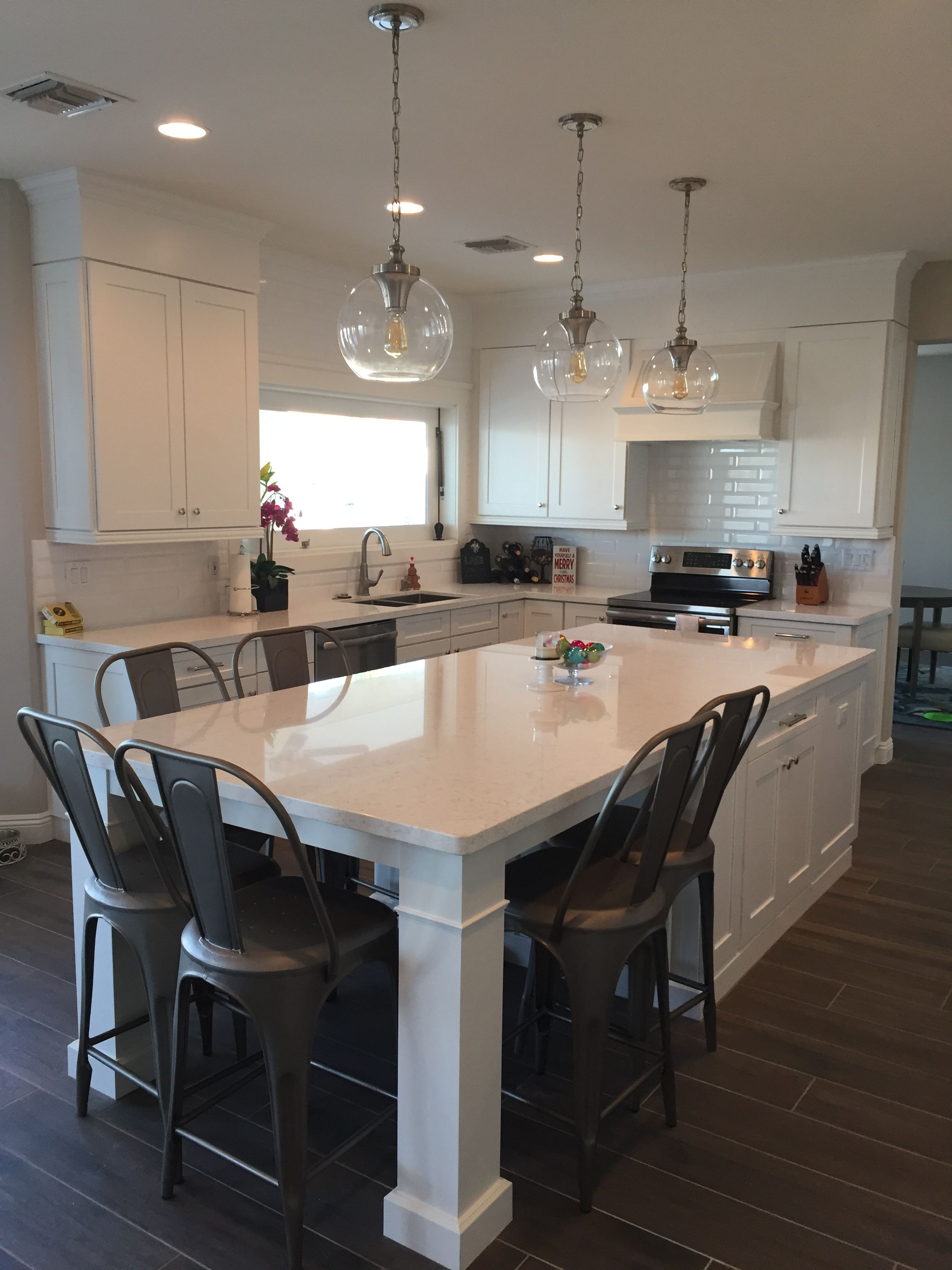 White Shaker Waypoint Cabinets Designed by: Nathan Hoffman… Kitchen Island  Dining Table, Kitchen