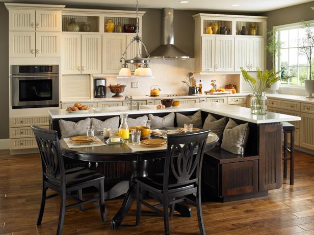 Kitchen Island with Built-In Bench