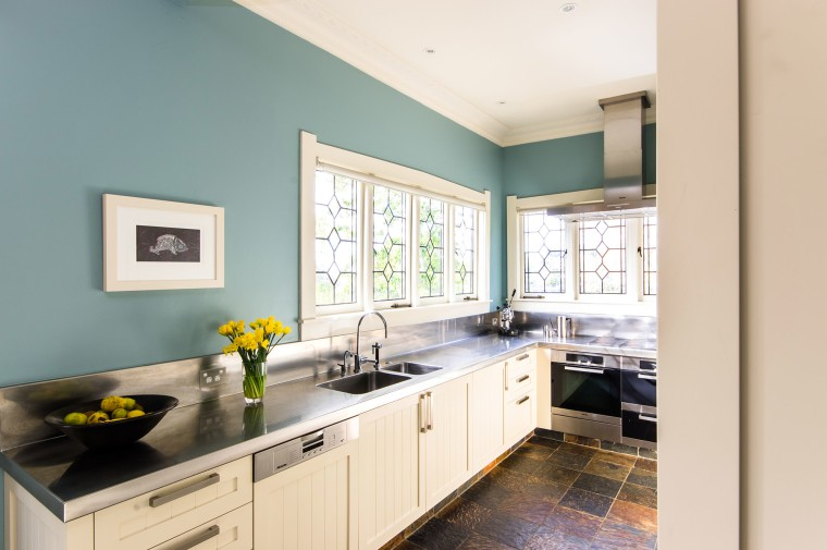 Resene paint colours enliven traditional kitchen in renovated Remuera  bungalow