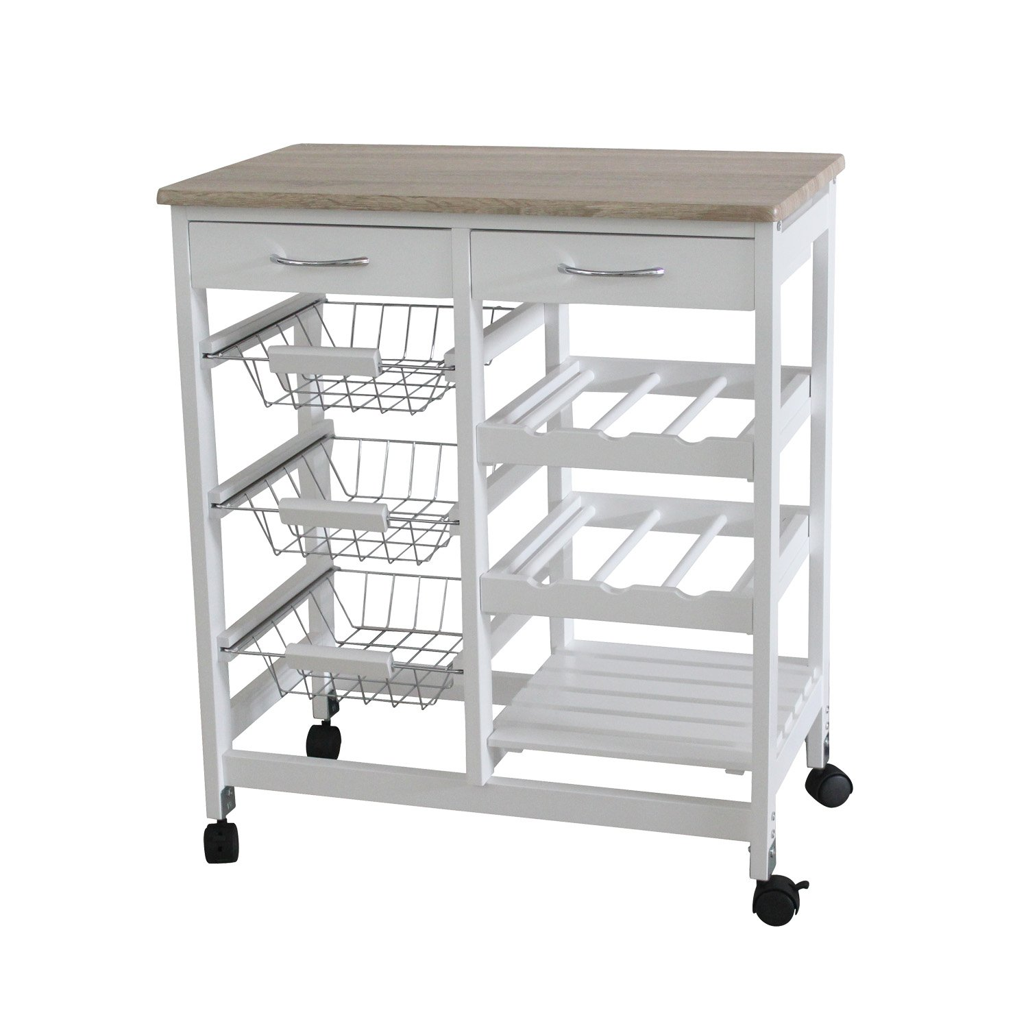 Traveller Location: Home Basics Portable Kitchen Storage Island Trolley Cart with 2  Drawers White and Oak: Home & Kitchen