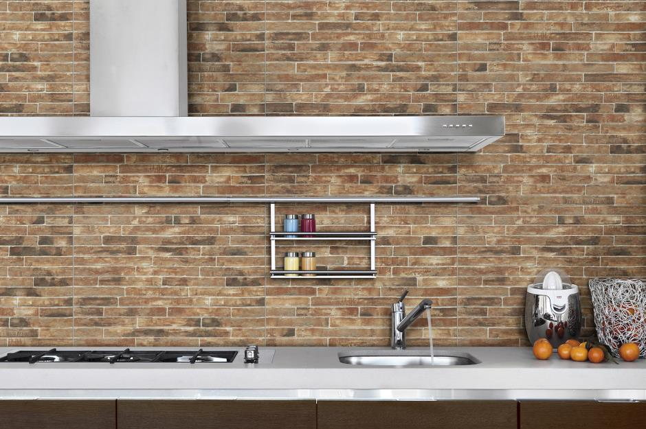 Faux exposed brick tiles