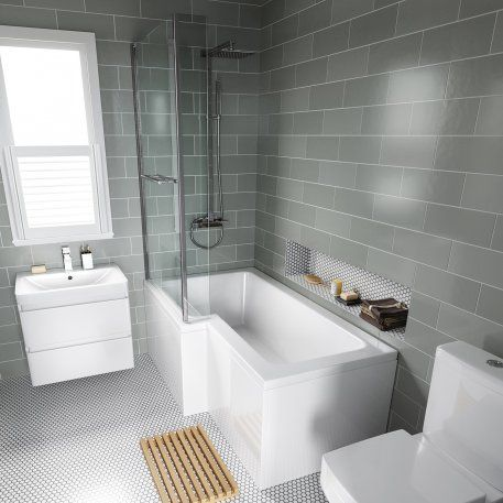 1500x850mm Left Hand L-Shaped Bath - 6mm Screen, Rail & Front Panel  (Excludes End Panel)