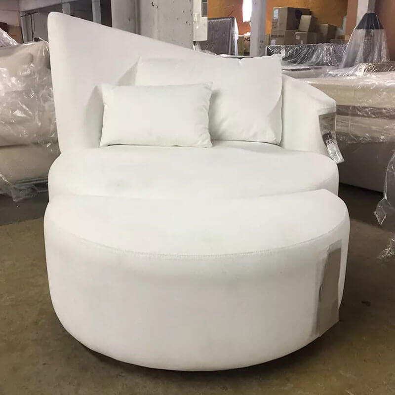 Large Swivel Chair and Ottoman In Ultra Suede