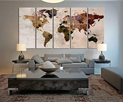 Amazon.com: Funy Decor Large Canvas Print Rustic World Map, Large