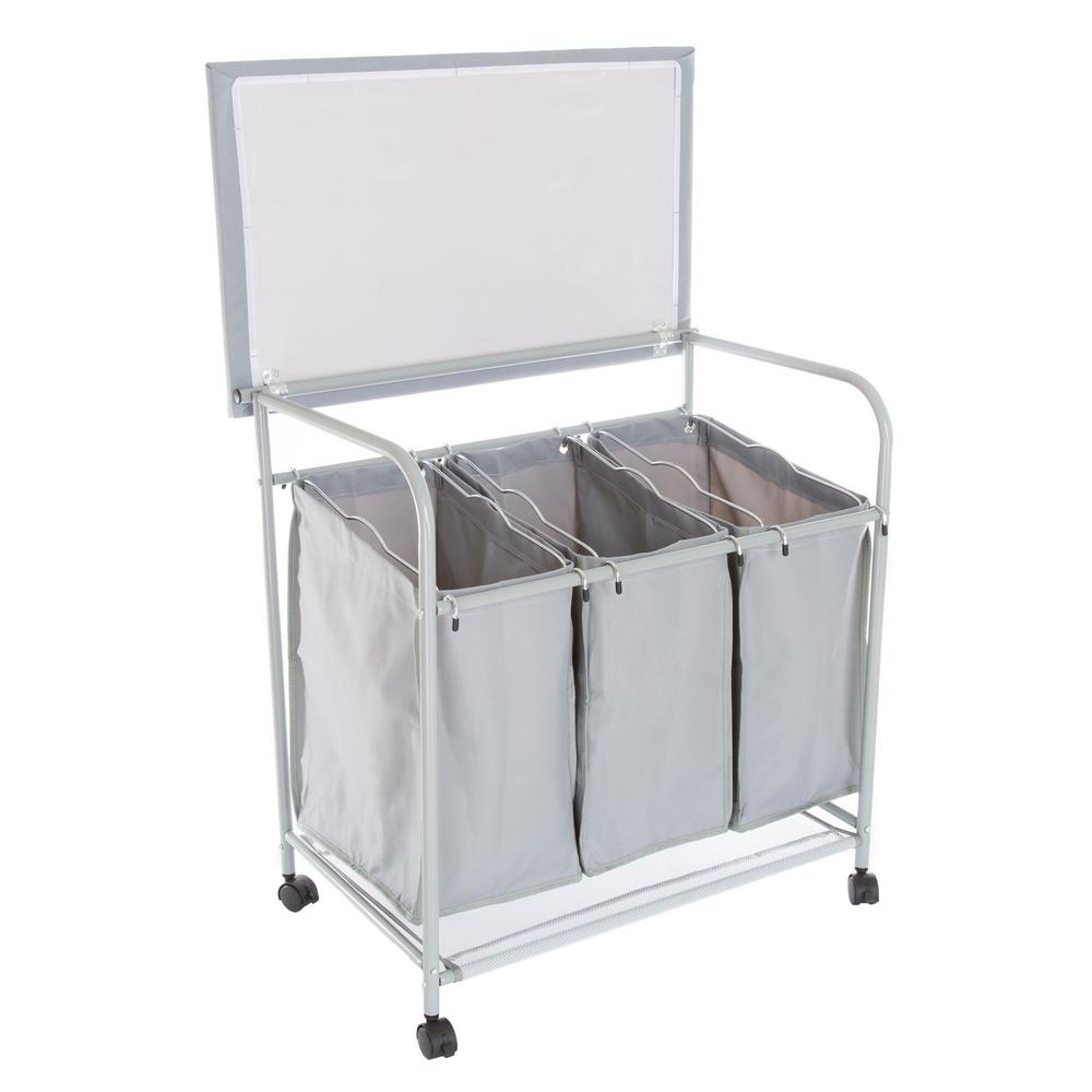 Rolling 3 Bin Laundry Sorter and Ironing Station