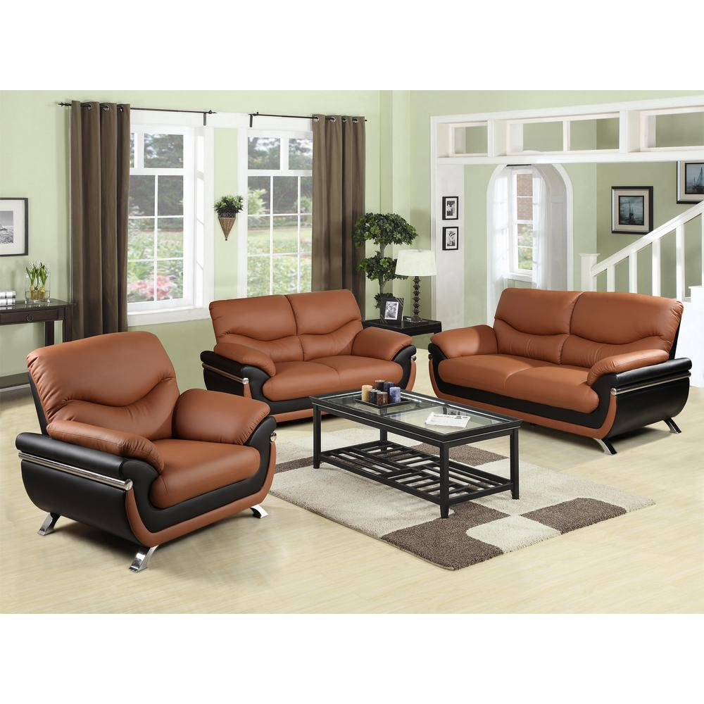 Two-tone Red and Black Leather Three Piece Sofa Set-SH216 - The Home Depot
