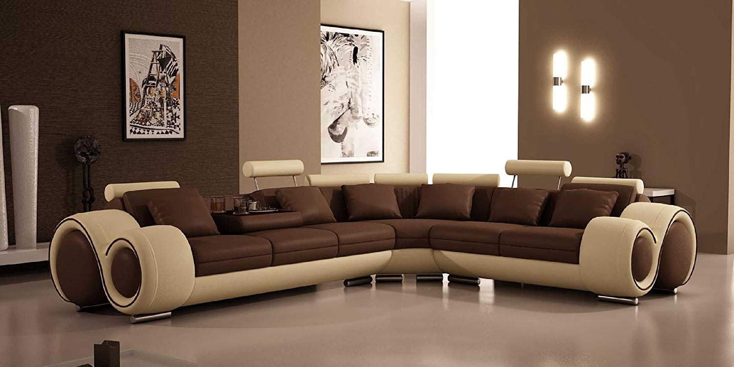 Traveller Location: 4087 - Bonded Leather Sectional Sofa with Recliners: Kitchen &  Dining