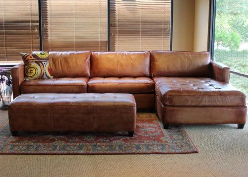 Traveller Location: Phoenix 100% Full Aniline Leather Sectional Sofa with Chaise  (Vintage Amaretto): Home & Kitchen