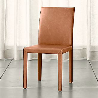 Folio Whiskey Brown Top-Grain Leather Dining Chair
