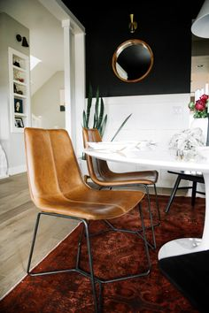 Gorgeous dining room (crisp, clean, texture, mid-century modern) with