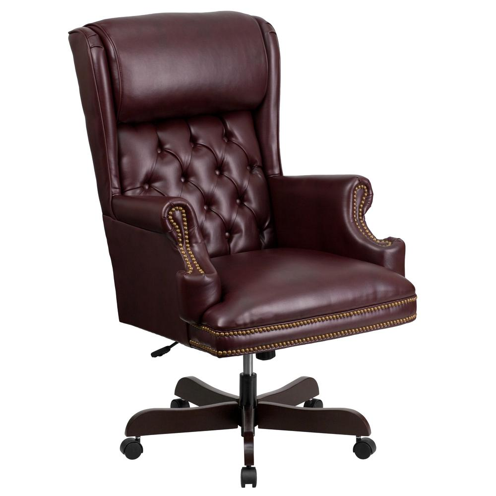 Flash Furniture High Back Traditional Tufted Burgundy Leather Executive  Swivel Office Chair-CIJ600BY - The Home Depot