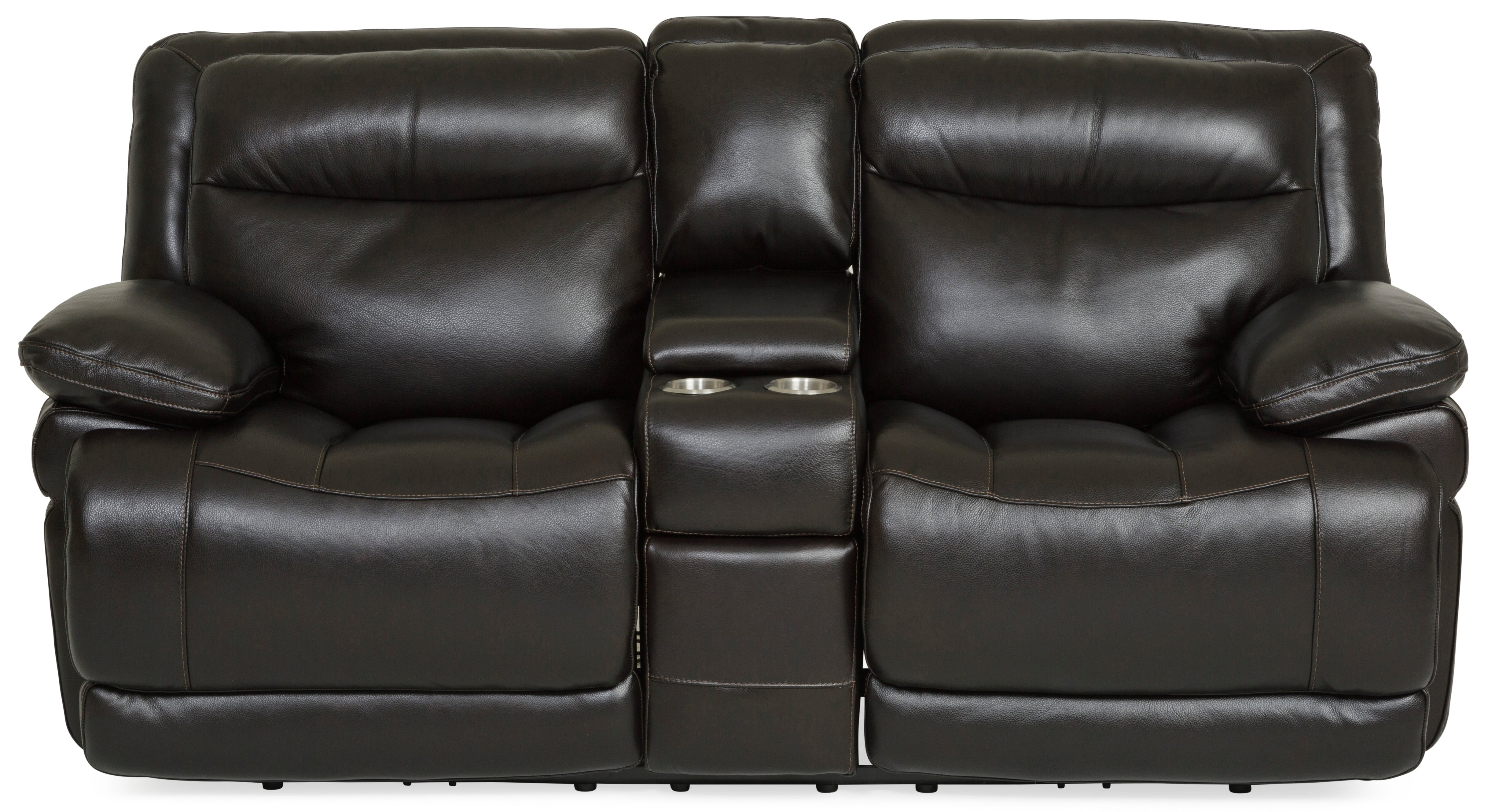 Longhorn Leather Power Reclining Loveseat - BLACKBERRY ST:422716