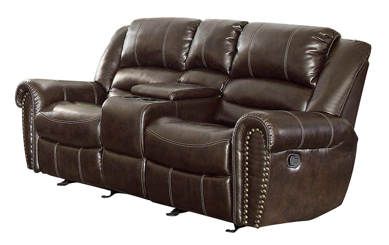 Traveller Location: Homelegance 9668BRW-2 Double Glider Reclining Loveseat with  Center Console Bonded Leather, Brown: Kitchen & Dining