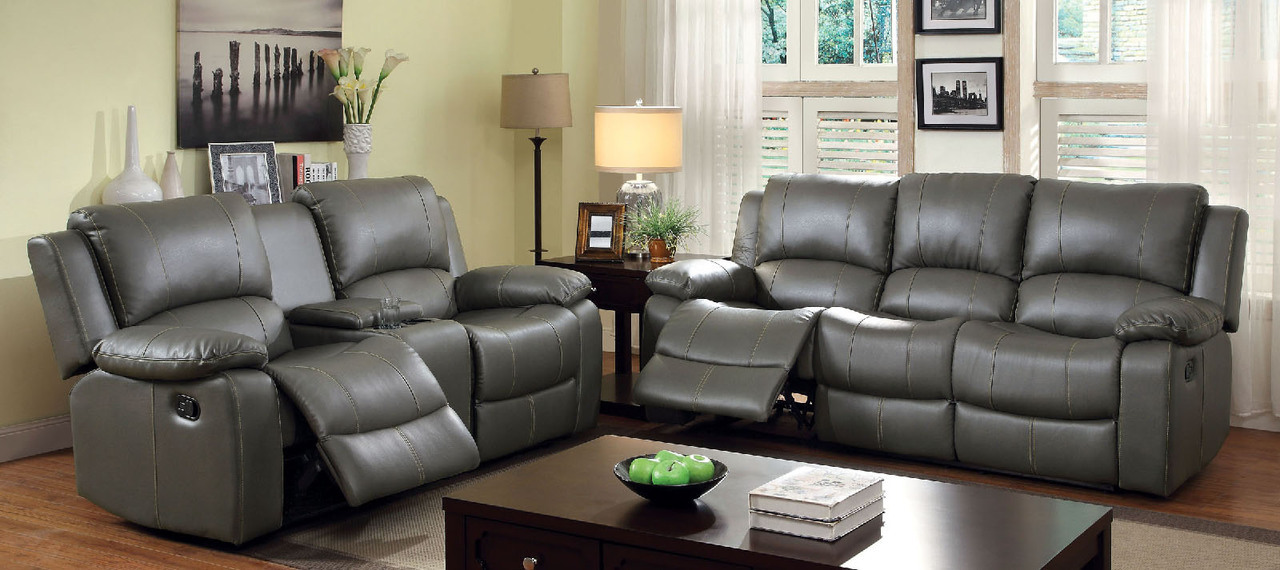 Double Reclining Sofa with Dropdown Center Table FACM6326-SF and Double Reclining  Loveseat with Center