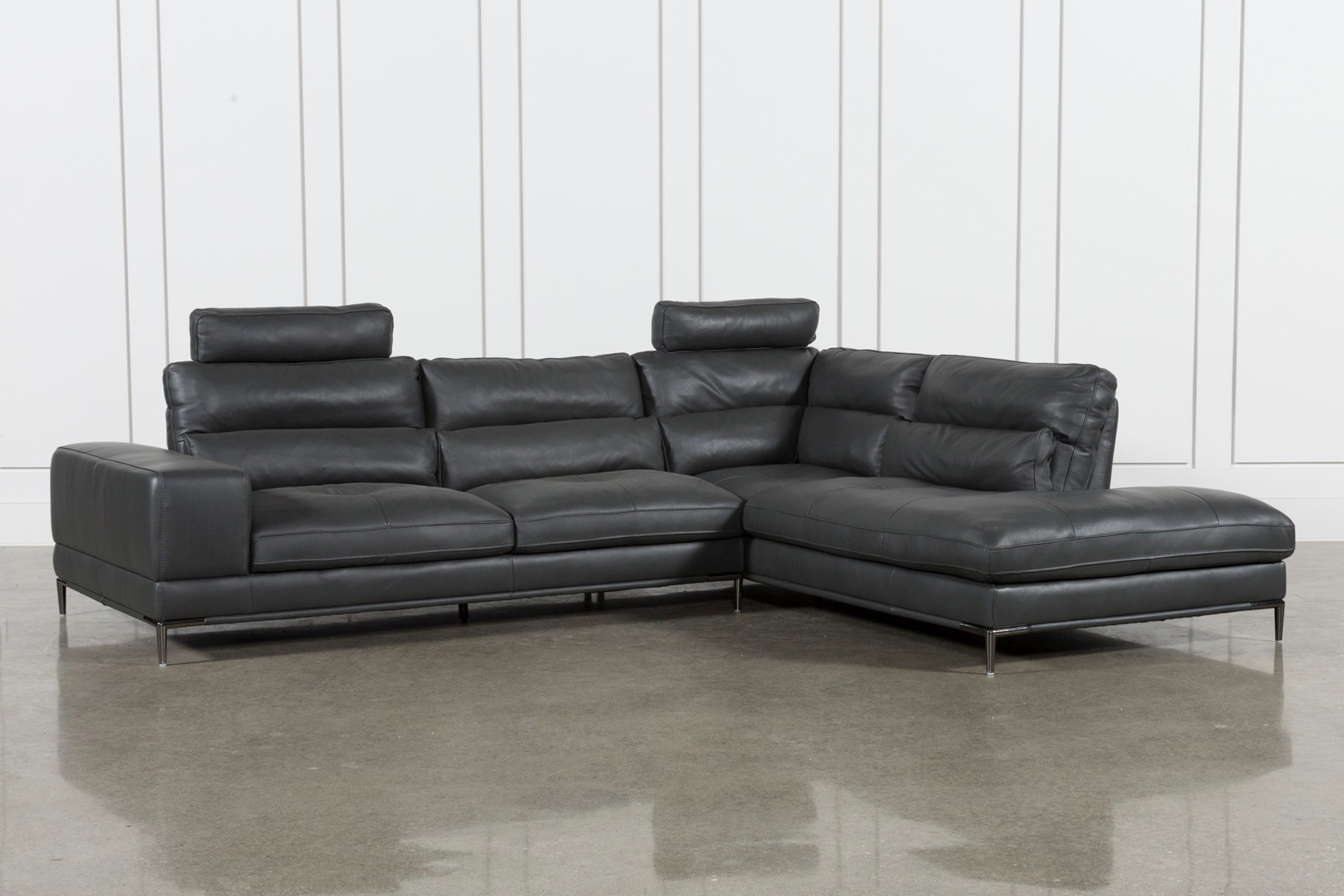 Tenny Dark Grey 2 Piece Raf Chaise Sectional W/2 Headrest | Living Spaces