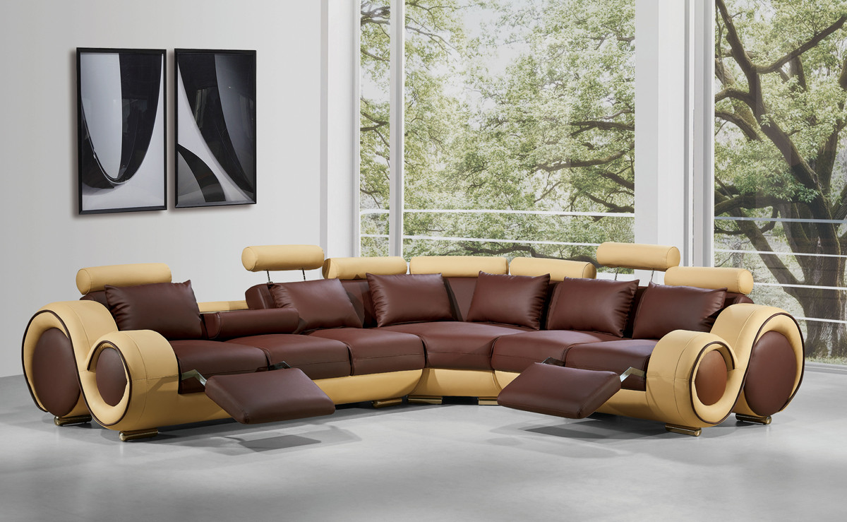 Your bookmark products. 4087 Modern Leather Sectional Sofa With Recliners