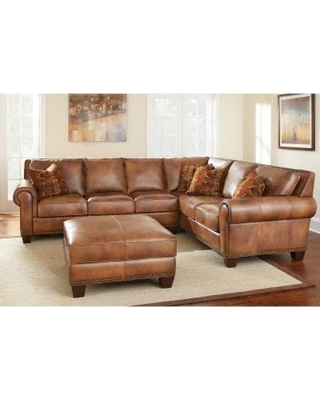 Sanremo Top Grain Leather Sectional Sofa and Ottoman Set by Greyson Living  (Sanremo Sectional with