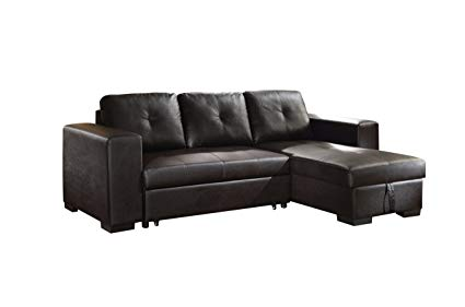 Image Unavailable. Image not available for. Color: ACME Lloyd Black Faux Leather  Sectional Sofa with Sleeper