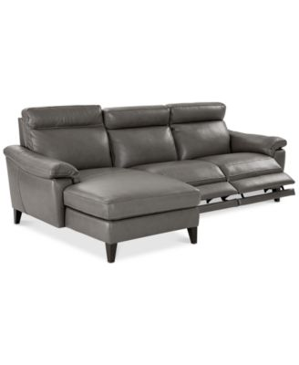 Furniture Pirello II 3-Pc. Leather Sectional Sofa With Chaise, 2 Power  Recliners
