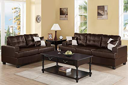 Amazon.com: Poundex F7577 Upholstered in Espresso Bonded Leather