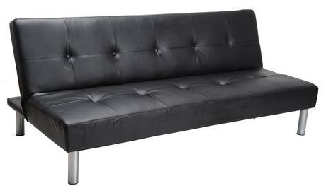 MAINSTAYS Faux Leather Sofa Bed - Black - image 1 of 1