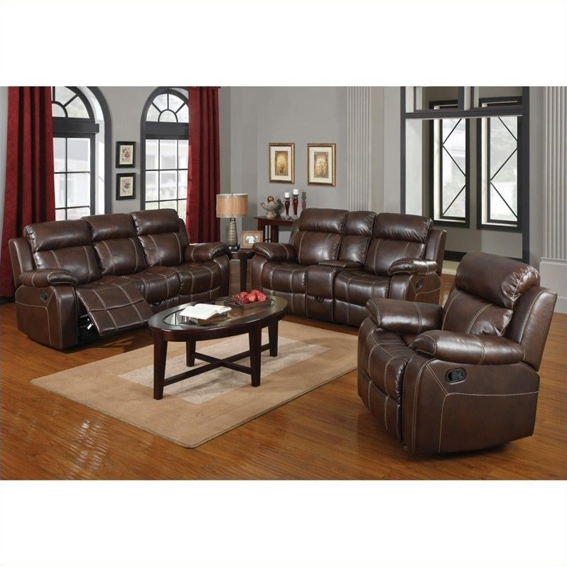 Coaster Myleene Leather 3 Piece Reclining Leather Sofa Set in Brown -  603021-22-23-3PKG
