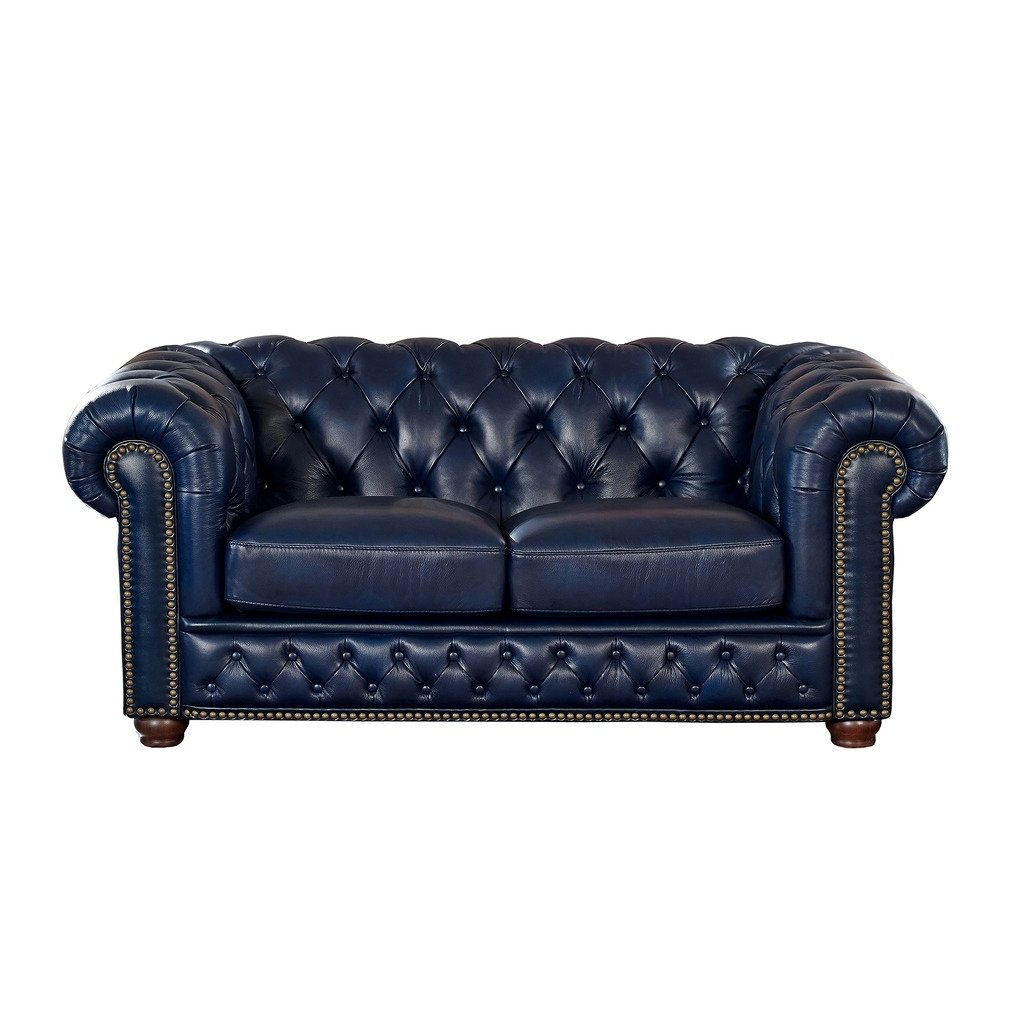 Tuscon Blue Leather Tufted Loveseat