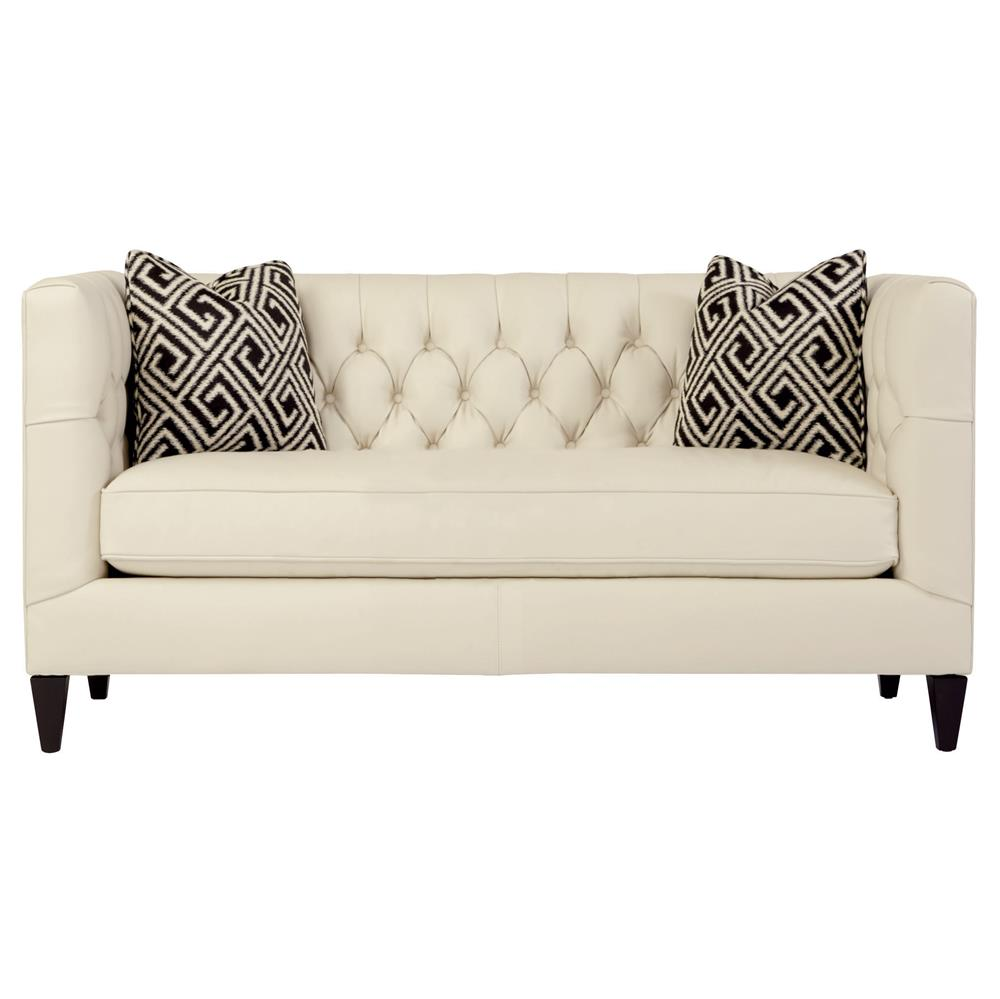Jane Hollywood Regency Mocha Wood Cream Leather Tufted Loveseat | Kathy Kuo  Home