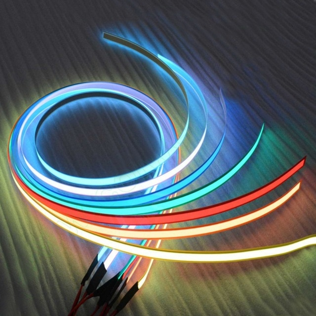 12V 1m Flexible Glow El tape led Light EL Wire Rope Cable waterproof