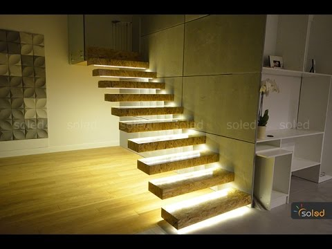 Stairs LED Lighting - Linear LED lights in the stairs - YouTube