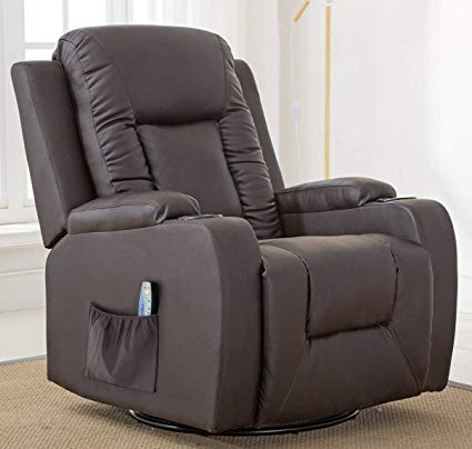 ComHoma Leather Recliner Chair Modern Rocker with Heated Massage Ergonomic  Lounge 360 Degree Swivel Single Sofa