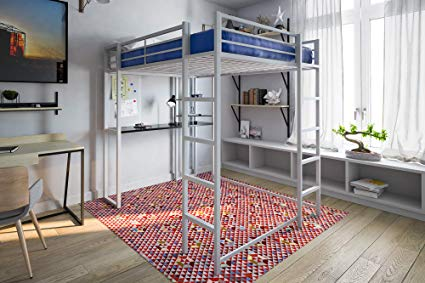 Amazon.com: DHP Abode Full-Size Loft Bed Metal Frame with Desk and