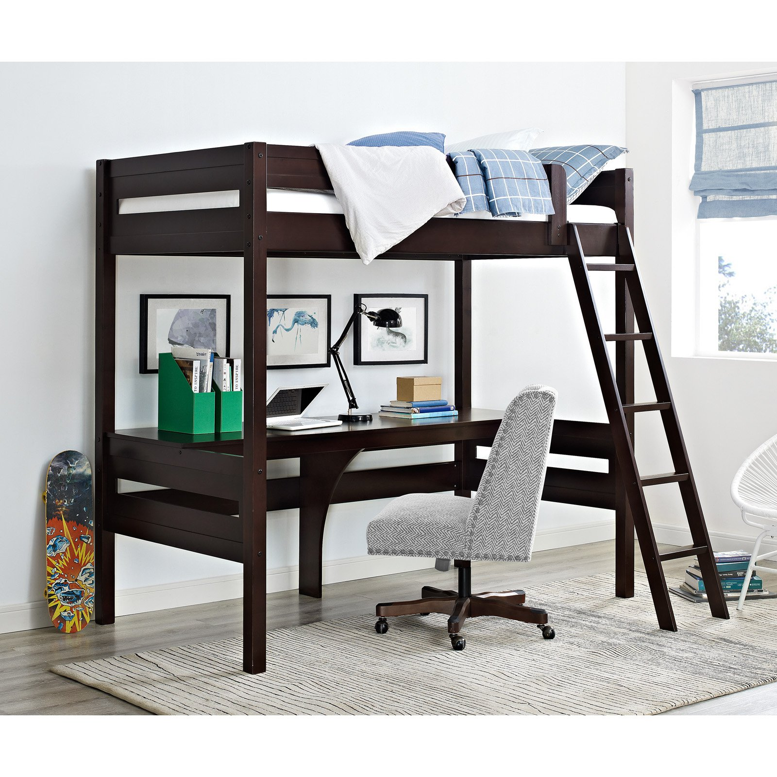 Dorel Living Harlan Twin Wood Loft Bed with Desk, Multiple Colors -  Traveller Location