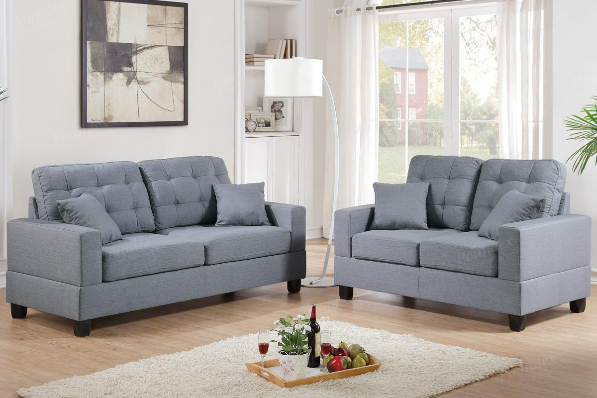 Grey Fabric Sofa and Loveseat Set - Steal-A-Sofa Furniture Outlet Los  Angeles CA