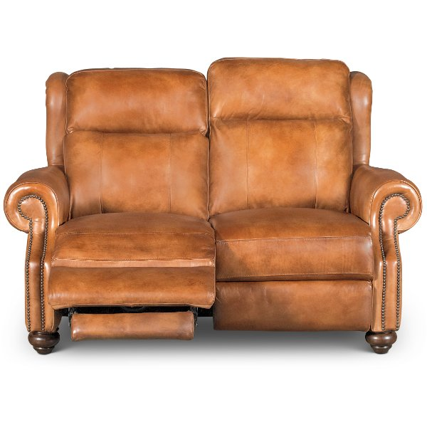 Whiskey Light Brown Leather Power Reclining Loveseat - Hancock