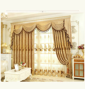 Image is loading European-Golden-Royal-Luxury-Curtains-for-Bedroom-Window-